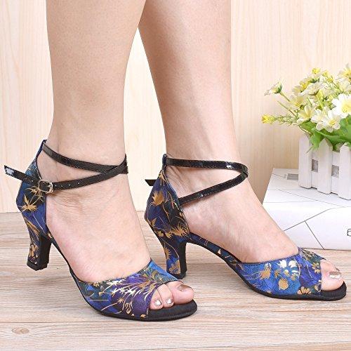 """HXYOO Indoor Dance Schuhe Frauen Für Latin Ballsaal Salsa Floral Satin 2,5 """"ferse Blau"""
