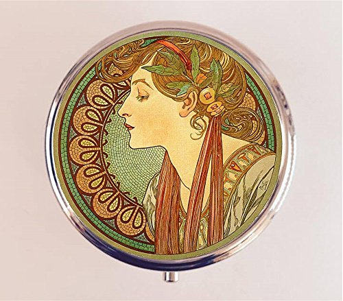 - Alphonse Mucha Pill Box Pillbox Case Holder Trinket Box Art Nouveau Edwardian Boho Cameo