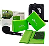 HoogaGoods Be Alive Yoga Combo Accessories includes Yoga Blocks Yoga Straps and Cooling Towel (Green and Black, Set of 2 Green Yoga Blocks, 1 Black Yoga Straps, 1 Green Cooling Towel)
