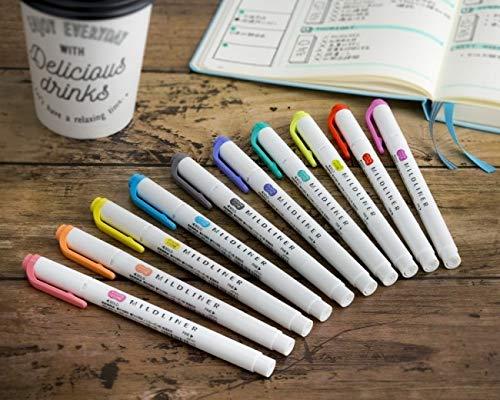 ZEBRA MILDLINER Highlighter pen markers, 5-Pack (WKT7-5C / WKT7-5C-NC / WKT7-5C-RC / WKT7-N-5C / WKT7-5C-HC) 25 Color Full Range Set with Original vinyl pen case by ZEBRA MILDLINER (Image #7)