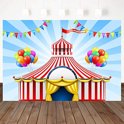 (Mehofoto Carnival Circus Photography Background Red Tent Magic Circus Stage 7X5ft Vinyl Photo Colorful Balloons Banner Booth Background Carnival Children Adult Baby Birthday Party Banner)