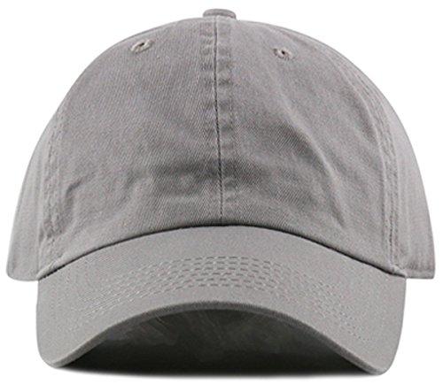 MIRMARU Plain Stonewashed Cotton Adjustable Hat Low Profile Baseball Cap.(Grey)