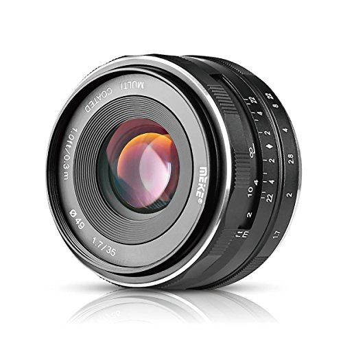 Meike MK-E-35-1.7 35mm F1.7 Large Aperture Manual Prime Fixed Lens APS-C for Sony E-Mount Digital Mirrorless Cameras A7III A9 NEX 3 3N 5 NEX 5T NEX 5R NEX 6 7 A5000 A5100 A6000 A6100 A6300 A6500