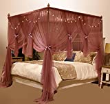 Mengersi 4 Corner Post Bed Canopy Mosquito Netting with Led Light (California King(1 x Bed Canopy), Coral)