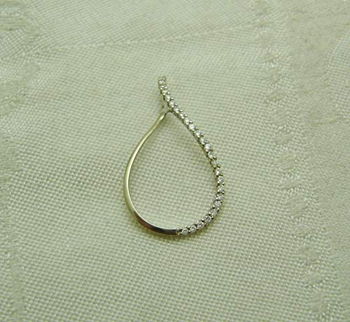 - Tear Drop Shaped Pendant 14k White Gold, 25 Round Diamonds 1/2TCW SD-1733