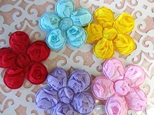 25 Big 2 Rose Brooch Fabric Floral Applique/Trim/Sewing/Craft/Bow #ID-1268