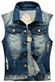 Camo Coll Men's Sleeveless Lapel Denim Vest Jacket (L, H-Blue)