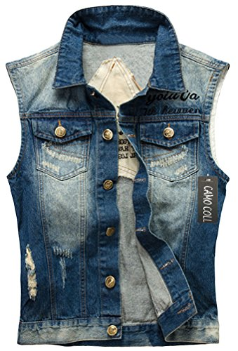 Camo Coll Men's Sleeveless Lapel Denim Vest Jacket (L, H-Blue) by Camo Coll