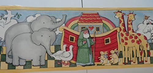 "Noahs Arkジャングル動物セルフスティック壁紙壁Border Baby Nursery 63/ 4"" x 5yd"
