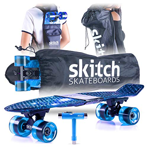 Street Backpack Skateboard - Skitch Complete Skateboards Gift Set for Beginners Boys and Girls of All Ages with 22 Inch Mini Cruiser Board + Skateboard Backpack + Skate Tool + Tote Bag (Blue Galaxy)