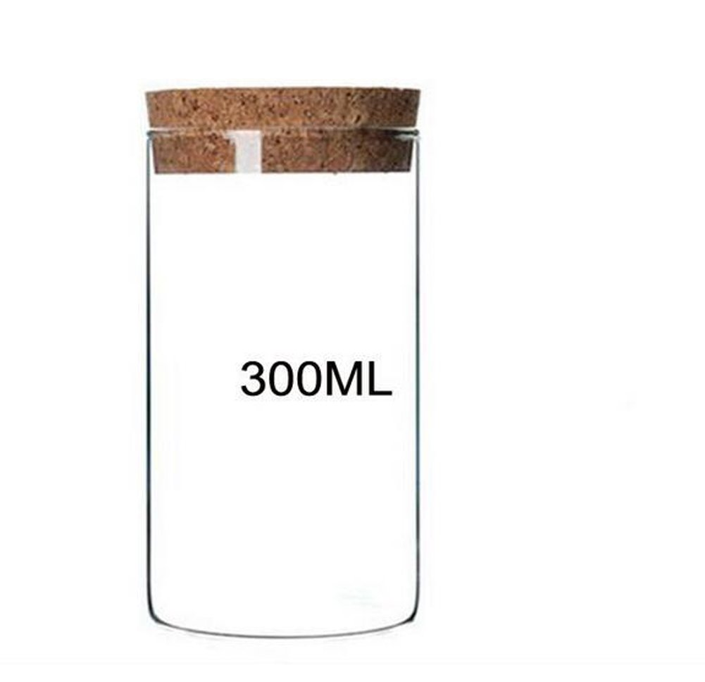 1PCS 300ML Glass Bottles With Wooden Lid-Kitchen Containers Resistant Borosilicate Seal Pot/Kitchen Food Containers For Dry Food Dried Fruit Clear Tea Storage Pot Elandy