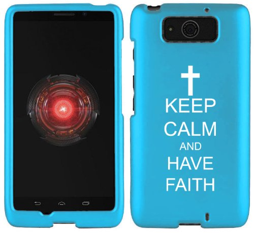 Motorola Droid MAXX XT1080M Snap On 2 Piece Rubber Hard Case Cover Keep Calm and Have Faith Cross