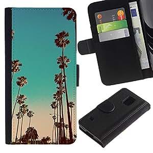 KLONGSHOP / Tirón de la caja Cartera de cuero con ranuras para tarjetas - Teal California Pink Palms - Samsung Galaxy S5 V SM-G900