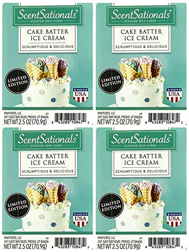 ScentSationals Cake Batter Ice Cream Wax Cubes - 4-Pack (Best Cake Batter Ice Cream)