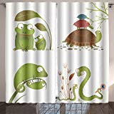 Analisahome cartoon reptile animals parent with baby collection brightly colored childish frogs turtles snakes Bedroom/Living Room/2 Panels