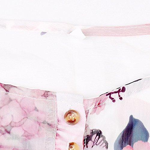 Femme Floral V Longues Mousseline Blouse Imprime Aimee7 Blanc Chemise Manches Col Chemisier SnqfpF51