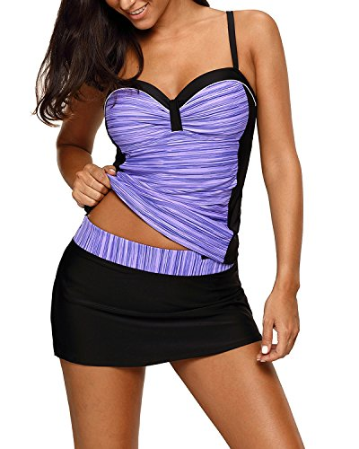 (EVALESS Womens Sexy Retro Spaghetti Straps Tankini Swimwear Two Pieces Swimsuit Large Purple)
