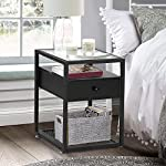 VECELO Nightstand with Drawer Tempered Glass Beside Table End side Table Cabinet with Shelf Storage for Bedroom Living…