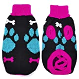uxcell Pet Dog Chihuahua Blue Fuchsia Knitted Paw Print Sweater Clothes M For Sale