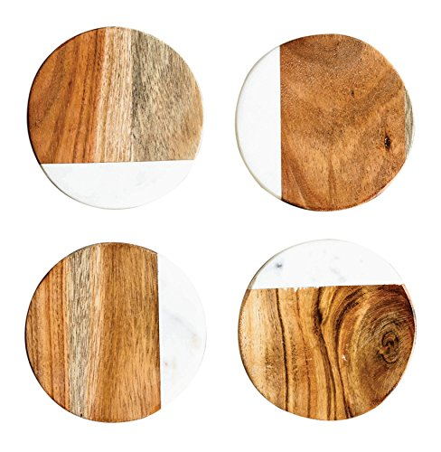 Creative Co-Op DA6335 Set of 4 Marble & Mango Wood Round Coasters
