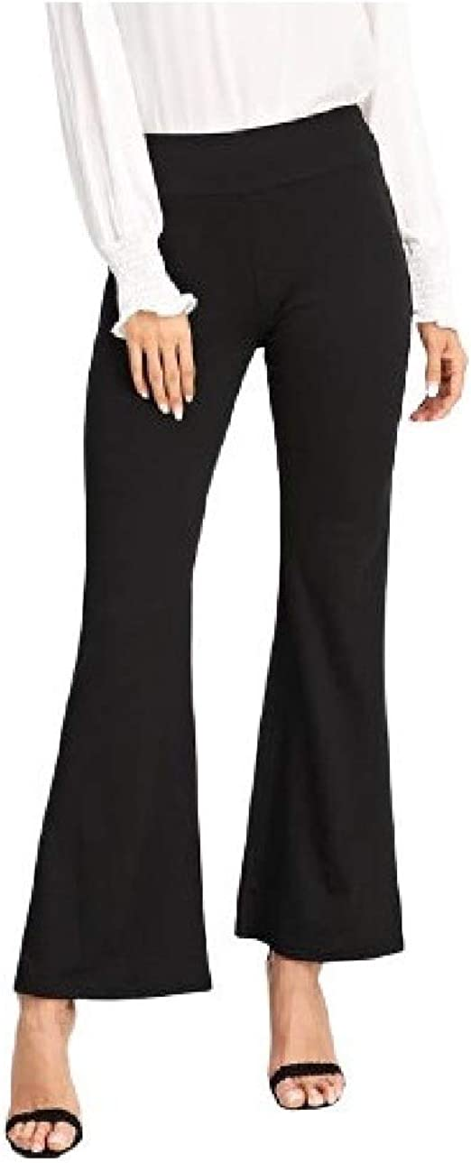 Nicellyer Women's Classic Fit Pure Color Wide Leg Elastic Waist Relaxed Wear Pants