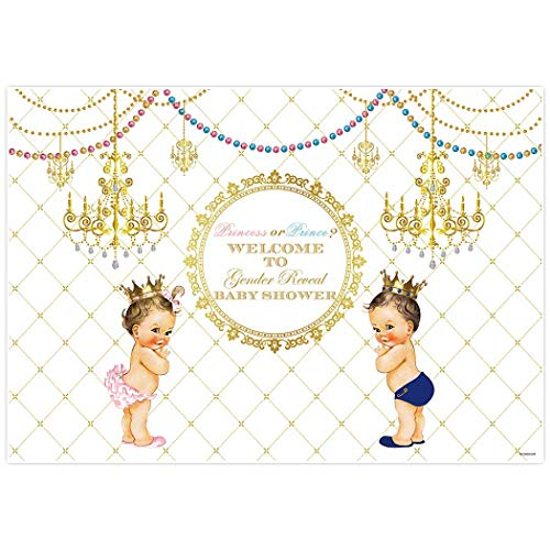 Allenjoy 6x4ft Royal Gender Reveal Theme Party Backdrop Boy Or Girl Princess Prince Twins Birthday Baby Shower for Event Decor Decorations Newborn Portrait Photography Pictures Supplies Favors Gold -