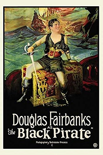 Douglas Fairbanks as a pirate holds a sword and sits on a treasure Chest with a pistol in his cummerbund and a pirate ship in the background Poster Print (18 x 24)