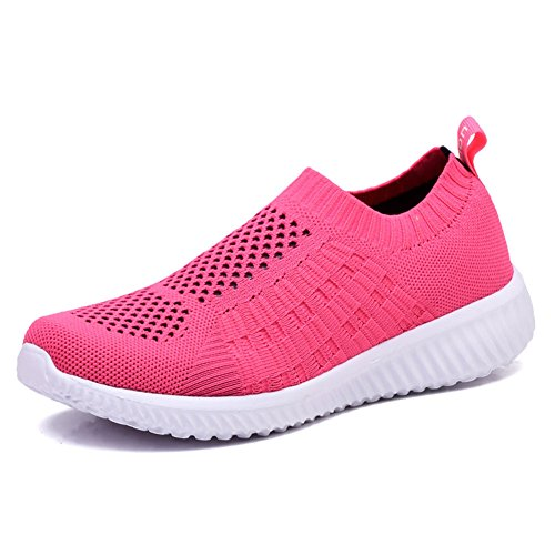 - KONHILL Women's Lightweight Casual Walking Athletic Shoes Breathable Mesh Running Slip-On Sneakers, Rosy, 36