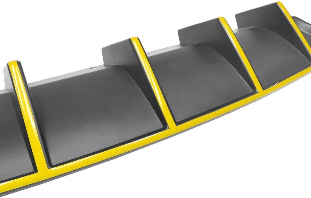 Factory Style Rear Diffuser with Yellow Reflective Tape IKON MOTORSPORTS Bumper Lip Spoiler Compatible With 2015-2020 Dodge Charger SRT
