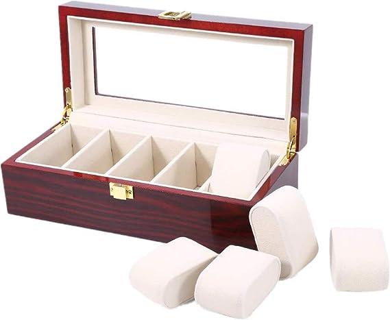 5 Grids Caja de Almacenamiento de Relojes Rojo, Estuche de Joyeria para Organizadora y Exhibición, Laca de Madera: Amazon.es: Belleza