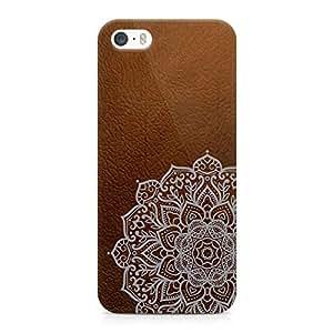 Loud Universe Faux Leather Bohemian Mandala Print Edges Durable Wrap Around iPhone 5s Case - Brown