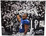 NFL New York Giants Ahmad Bradshaw Waving Towel B&W with Color Accents Signed by William Hauser Horizontal Photograph, 8x10-Inch