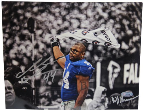 NFL New York Giants Ahmad Bradshaw Waving Towel B&W with Color Accents Signed by William Hauser Horizontal Photograph, 8x10-Inch by Steiner Sports