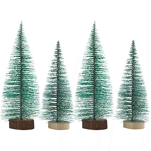 handrong 4pcs Mini Sisal Christmas Trees Artificial Snow Frost Pine Tree with Wood Base DIY Craft Ornaments for Home Birthday Party Festival Holiday Wedding Table Top Decorations (Green)
