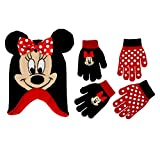 Disney Little Girls Minnie Mouse Polka Dot Hat and 2 Pairs Mittens or Gloves Cold Weather Accessory Set, Ages 2-7 (Little Girls Ages 4-7 Hat & 2 Pair Gloves Set, Black/Red)