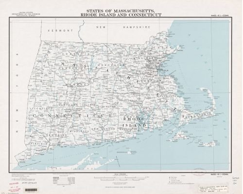 1971 Map States of Massachusetts, Rhode Island, and Connecticut : base map - Size: 20x24 - Ready to