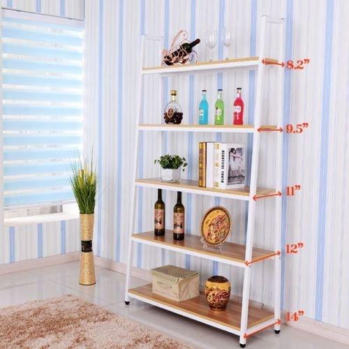 5 Shelf Metal Bookcase (Heavy Duty Metal Home Decorate Bookcase - Choose 3,4,5 Tier Shelf (5 Shelf, White))