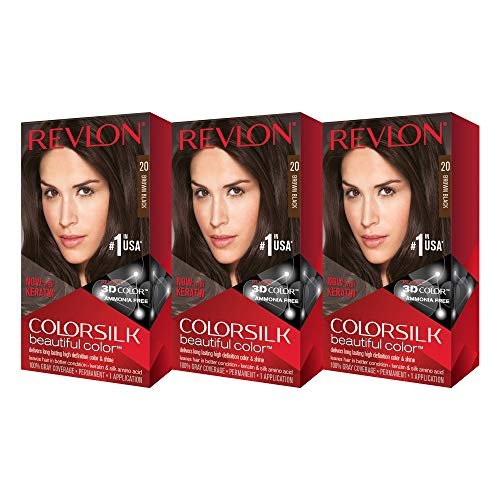 Revlon Colorsilk Beautiful Color, Brown/Black, 3 Count