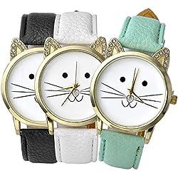 Top Plaza 3pcs Women's Platinum Plated Mini Cat Face Shape Rhinestone Ear Dial Analog Quartz Watch, Black/Green/White