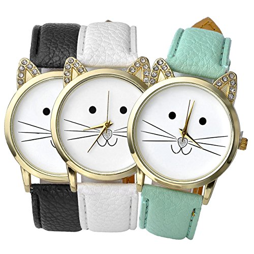 - Top Plaza 3pcs Women's Platinum Plated Mini Cat Face Shape Rhinestone Ear Dial Analog Quartz Watch, Black/Green/White for Friendship BFF Best Friends