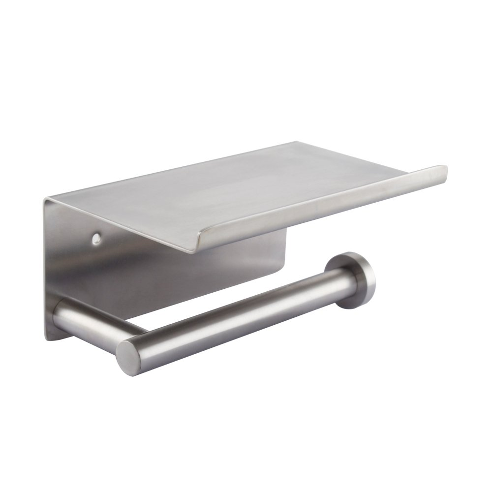 KES SUS 304 Stainless Steel Toilet Paper Holder Storage Bathroom Kitchen Paper Towel Dispenser Tissue Roll Hanger Wall Mount Brushed Finish, BPH204S1-2