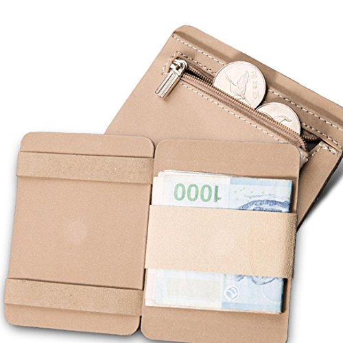 Pocciol Mens Bifold Business Wallet, Credit Card Pockets Leather Zipper ID Ultrathin (Beige) by Pocciol (Image #3)