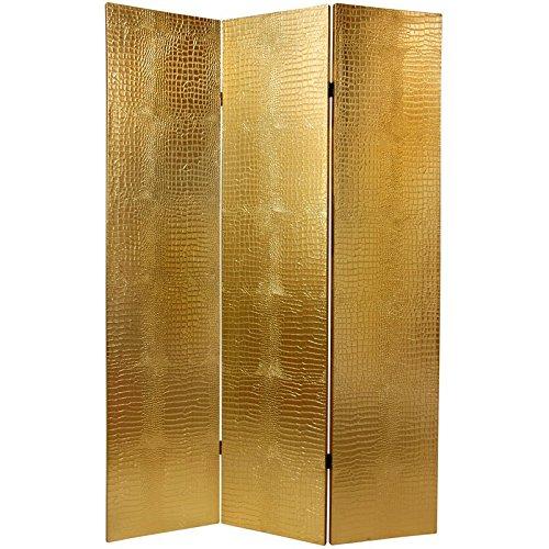 Leather Room Divider - Oriental Furniture 6 ft. Faux Leather Gold Crocodile Room Divider