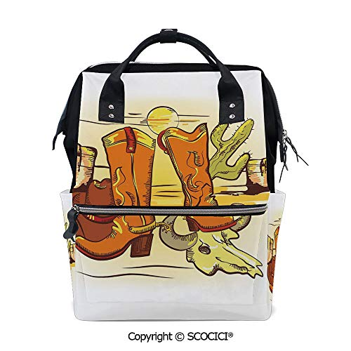 SCOCICI Travel Backpack Women Carry On Bag,Artistic Composition with Cowboy Accessories Boots Hat Skull in Hot Desert,with Large-Capacity