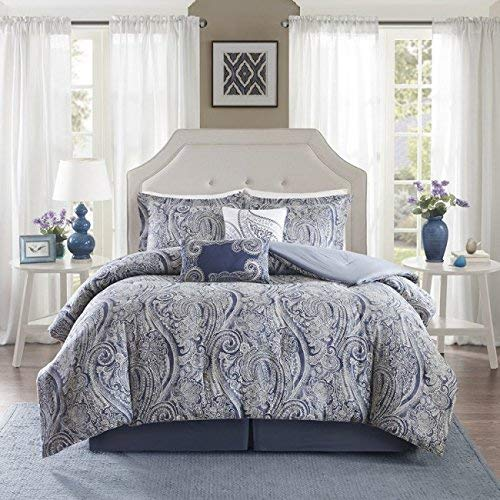 Harbor House Stella King Size Bed Comforter Set - Blue, Paisley – 5 Pieces Bedding Sets