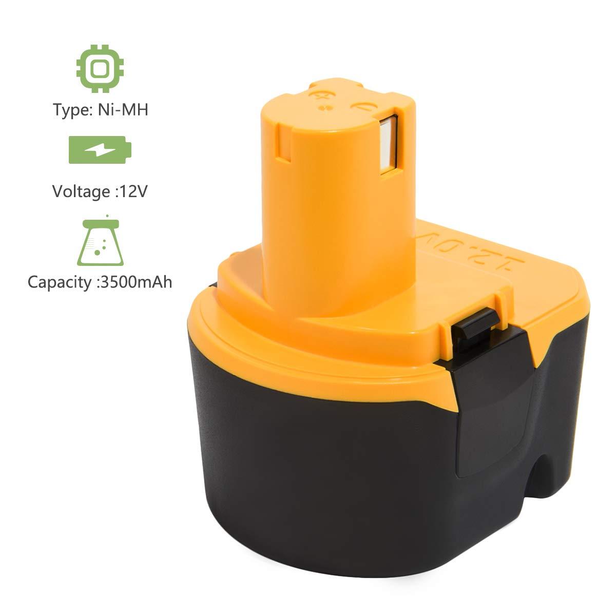Joiry 12V 3500mAh Ni-MH Replacement Bater/ía para Ryobi 1400143 1400652 1400670 4400005 B-8286 BPT1025 RY-1204