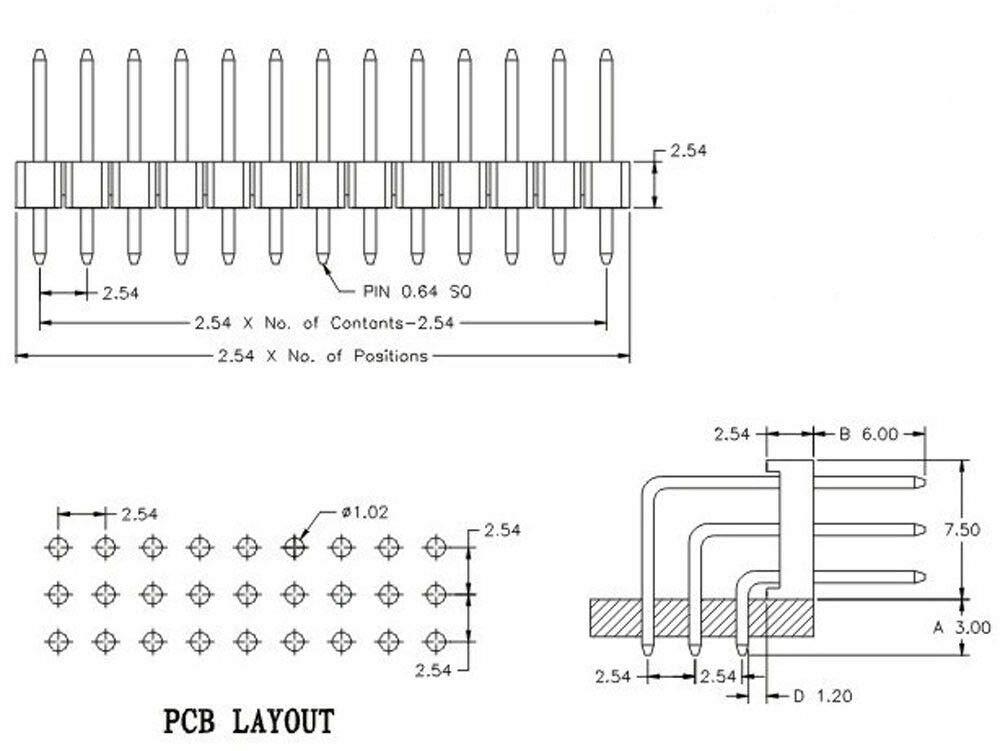 50PCS 2.54mm Pitch 3x40 Pin 120 Pin Three Triple Row Right Angle Header Strip