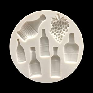 Very Small Cute Wine Bottle Grape Pot for DIY Cake Fondant Baking Biscuit Tray 3D Chocolates Hard Candies Drop Decor Silicone Mold Tool