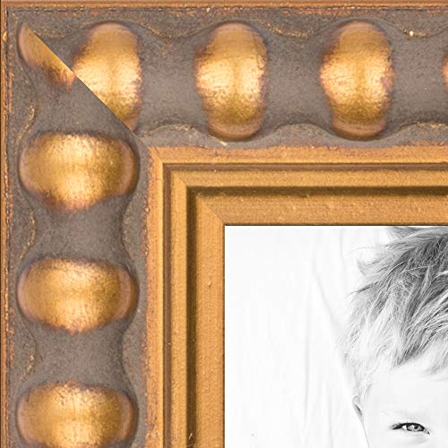 ArtToFrames 11x17 inch Gold Leaf with Bead Compo Wood Picture Frame, WOMD6864-11x17 ()