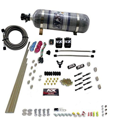 Nitrous Express 93006-12 8 Cylinder Dry Direct Port Nitrous System 4 Solenoids 100-600 HP w/12 lb. Carbon Bottle 8 Cylinder Dry Direct Port Nitrous System